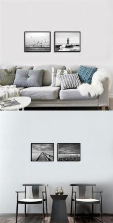 高级黑白海岸无框画设计
