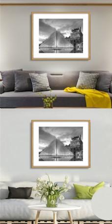 创意黑白风景无框画设计下载