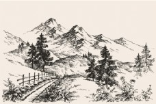 手绘山地景观素描矢量素材