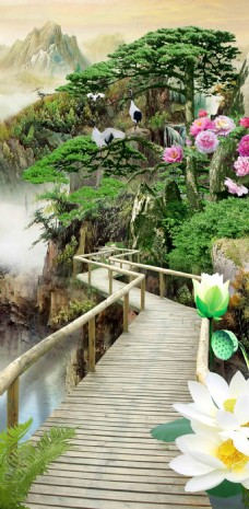 荷花牡丹桥背景墙装饰画