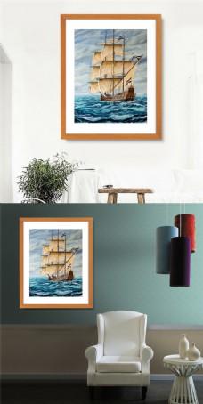 艺术帆船装饰画设计