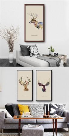 创意怀旧麋鹿无框画设计