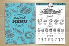 手绘海鲜美食宣传单