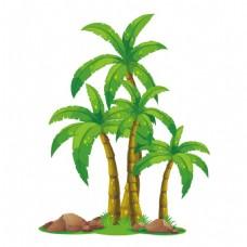 手绘卡通椰子树png元素