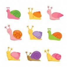 9款卡通蜗牛设计矢量素材