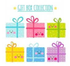6款可爱表情礼盒矢量素材