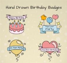 4款彩绘生日快乐标签矢量素材