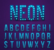 26个蓝色霓虹灯大写字母矢量素材