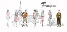 人物卡通服装建筑插画