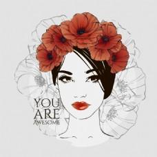 红色花卉装饰女子头像矢量素材
