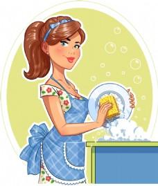 做家务洗碗的美女插画