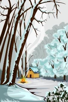 冬天森林里的小屋插画