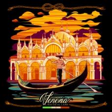手绘美丽的水城维尼斯插画