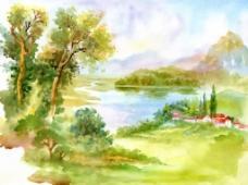 春天里的风景插画