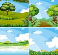 春天的风景插画