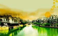 江南美景黄昏日落水乡绿色插画房地产平面