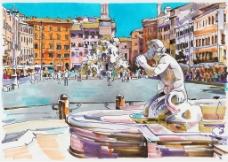 手绘意大利旅行风景插画