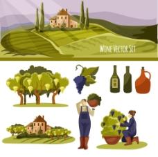 葡萄酒庄风景插画