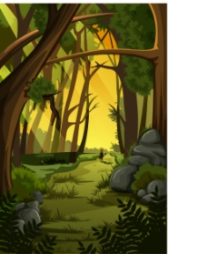 绿色森林里的小路插画