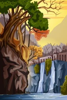 大自然里的瀑布插画