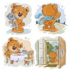 4款彩绘泰迪熊设计矢量素材
