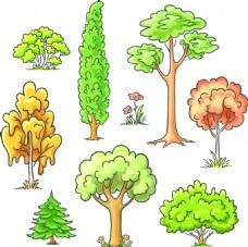手绘卡通大树插画