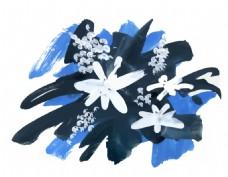 蓝色涂鸦花朵水彩手绘矢量文件