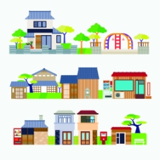 卡通扁平化中国古代建筑房屋矢量素材