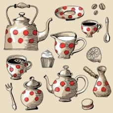 手绘涂鸦茶具插画