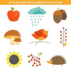 可爱秋季自然元素矢量