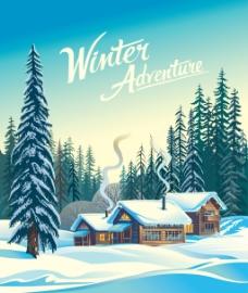 雪景冬天积雪森林小屋矢量插画