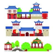 蓝色屋顶扁平化中国古代建筑房屋矢量素材