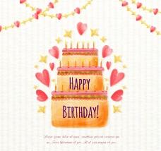 水彩绘生日蛋糕矢量