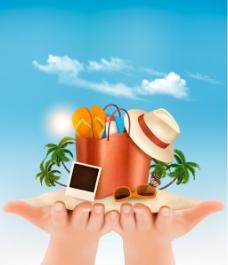 夏日暑假旅游海边沙滩元素矢量素材