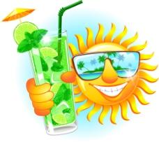 卡通夏天的太阳插画