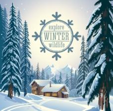 圣诞雪景冬天积雪森林小屋矢量插画