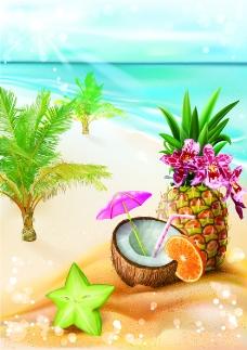 沙滩上的水果插画
