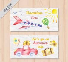 2款童趣水彩绘度假banner矢量素材