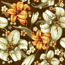 时尚手绘百合花背景