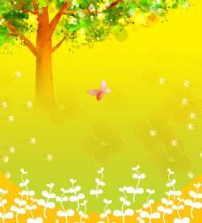 大树白芽黄色背景