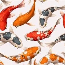 日本和风锦鲤鱼矢量背景素材
