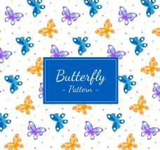 彩色夏日蝴蝶无缝背景矢量图