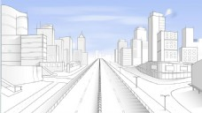 手绘线条城市背景