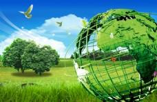 地球仪框架绿色背景