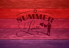 渐变木板背景情人节海报