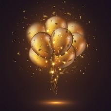 金色气球束和纸屑