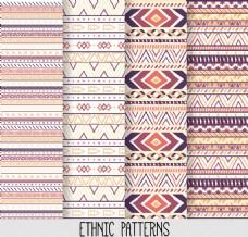 4款彩色部落民族花纹无缝背景矢量图