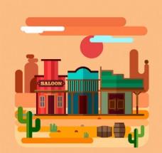 扁平化西部沙漠和商铺风景矢量图