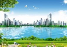 城市河畔蓝色背景