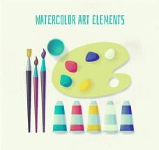 10款水彩绘绘画工具矢量素材